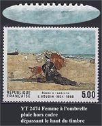 """FR Variétés YT 2474 """" Femme à L'ombrelle """" Pluie Hors Cadre - Errors & Oddities"""