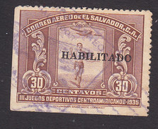 El Salvador, Scott #C43, Used, Runner Overprinted, Issued 1935 - El Salvador