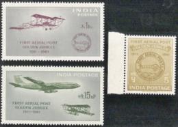India,  Scott 2017 # 336-338,  Issued 1961,  Set Of 3,  MNH,  Cat $ 11.50,  Planes - 1950-59 République