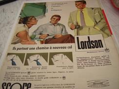 ANCIENNE PUBLICITE CHEMISE  DE LORDSON - Vintage Clothes & Linen