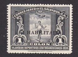 El Salvador, Scott #C45, Mint No Gum, Runner Overprinted, Issued 1935 - Salvador