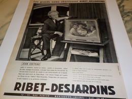 ANCIENNE   PUBLICITE TELEVISION AVEC JEAN COCTEAU ET RIBET JARDINS 1960 - Television
