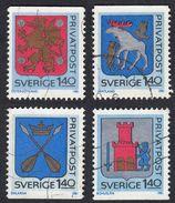 SWEDEN - SVEZIA -  SVERIGE - 1981 - Serie Completa Usata Yvert 1127/1130; 4 Valori, Stemmi Delle Province. - Gebraucht