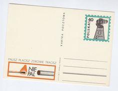 1971 POLAND Illus DO NOT SMOKE , SMOKING DAMAGES HEALTH Postal STATIONERY CARD Medicine Stamps - Tobacco