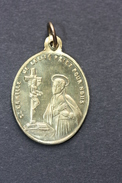 """Beau Pendentif Médaille Religieuse XIXe """"Saint Camille De Lellis / Notre-Dame De La Chaux"""" Religious Medal - Religión & Esoterismo"""