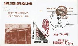 "LBR40- CARTE POSTALE ""PATRIOT"" REPIQUAGE SNAKE HOLLOW LOCAL POST CROOKSVILLE 29/4/1972 - Entiers Postaux"