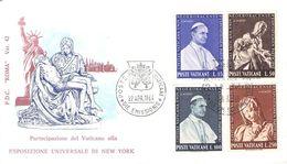 VATICAN - FDC 1964 ESPOSIZIONE UNIVERSALE DI NEW YORK Mi #450-453 - FDC