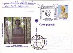 Moldova , Moldavie , Moldau ; 2011 ,  Poet M.Eminescu ; Special Cancell - Moldova