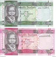 South Sudan - Pick 5, 6 - 1, 5 Pounds 2011 - Unc - Set 2 Banknotes - Soudan Du Sud