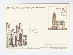 1987 POLAND Pope JOHN PAUL II VISIT Postal STATIONERY CARD Illus Stanislawa CATHEDRAL Religion Church  Stamps Cover - Popes