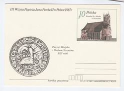 1987 POLAND Pope JOHN PAUL II VISIT Postal STATIONERY CARD JAKUBA W SZCZECINE CATHEDRAL Religion Church Stamps Cover - Popes