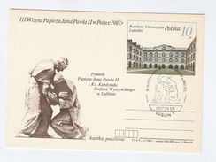 1987 Lublin  POLAND EVENT COVER Pope JOHN PAUL II  VISIT Postal STATIONERY CARD Religion Stamps Cover University - Popes