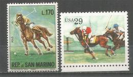 Match De Polo, 2 Timbres Neufs ** - Horses