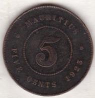Ile Maurice , 5 Cents 1923 , George V - Mauritius