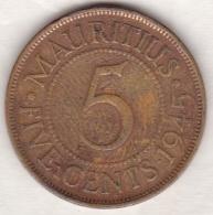 Ile Maurice , 5 Cents 1945 , George VI - Mauricio