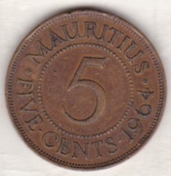 Ile Maurice , 5 Cents 1964 , Elizabeth II - Mauritius