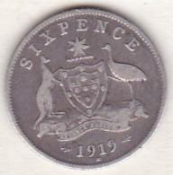 Australie ,6 Pence 1919 M (Melbourne)  , George V , En Argent - Monnaie Pré-décimale (1910-1965)
