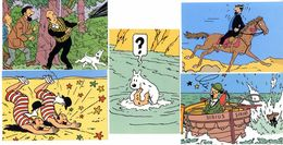 TINTIN  HERGE  LOT 5 CPM   -  SERIE Q8   EDITIONS DU LOMBARD 1988 - Comics