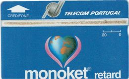 PHONECARDS-PORTUGAL-OPTICAL-HOLOGRAPHICAL--20 U- TELECOM-PORTUGAL MONOKET RETARD---BATCH-305B-- DIFFICULT - Portugal