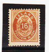 MAG1360  ISLAND 1876  Michl   9 B  (*) FALZ  ZÄHNUNG Siehe ABBILDUNG - Ungebraucht