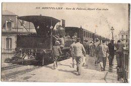 1915 PALAVAS - Carte Animée Sur La GARE Et DEPART D'un TRAIN - Palavas Les Flots