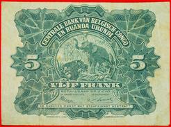 § ELEPHANT: BELGIAN CONGO - RUANDA-URUNDI ★ 5 FRANCS 1953 CRISP! LOW START★ NO RESERVE! - [ 5] Belgian Congo