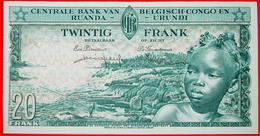 § ELEPHANT: BELGIAN CONGO - RUANDA-URUNDI ★ 20 FRANCS 1957 CRISP! LOW START★ NO RESERVE! - Belgian Congo Bank
