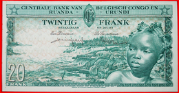 + ELEPHANT: BELGIAN CONGO - RUANDA-URUNDI ★ 20 FRANCS 1957 CRISP! LOW START★ NO RESERVE! - [ 5] Congo Belga
