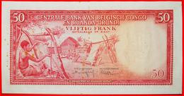 § WEAVING: BELGIAN CONGO - RUANDA-URUNDI ★ 50 FRANCS 1957 CRISP! LOW START★ NO RESERVE! - [ 5] Belgian Congo