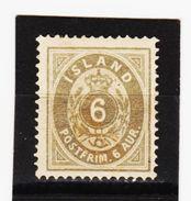 MAG1315  ISLAND 1876  Michl  7 A (*) FALZ  ZÄHNUNG Siehe ABBILDUNG - Ungebraucht
