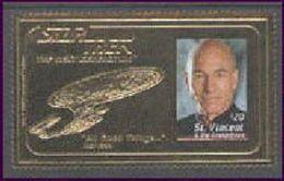 ST.VINCENT   2118 A  GOLD  MINT NEVER HINGED SOUVNIR SHEET OF STAR TREK - Sciences