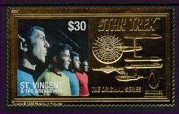 ST.VINCENT   2246 A  GOLD  MINT NEVER HINGED SOUVNIR SHEET OF STAR TREK - Sciences