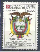 1984 ORDRE MALTE PA 17 ** Armoirie Equateur , Issu De Paire - Malte (Ordre De)