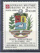 1986 ORDRE MALTE PA 22 ** Armoirie Vénézuela , Issu De Paire - Malte (Ordre De)
