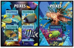 MOZAMBIQUE 2016 - Fishes - YT 6866-9 + BF1043 - Fishes
