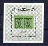 1943   GEPH – Centenaire Des Timbres Suisse, BF 10**, Cote 50 €, - Blocs & Feuillets