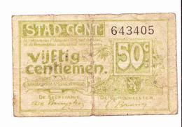 BON De 50c STAD GENT14-18 - [ 3] German Occupation Of Belgium