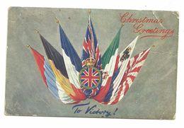 "CPA ""to Victory"" Drapeaux Alliés Christmas Greetings, Postée De Guernesey Vers La France, Raphaël Tuck N°8796 - Weltkrieg 1914-18"