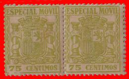 ESPAÑA 1937. TIMBRES  ESPECIAL MOVIL DE LA REPÚBLICA. 75 CENTIMOS.NUEVOS CON GOMA  SIN CHARNELA. - Fiscales
