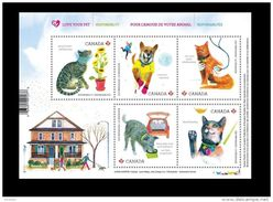 CANADA MNH,# 2829,  2015 LOVE YOUR PET: DOG,  CHIEN, CHAT, CAT, MAISON, HOUSE, AUTO, FLOWERS, - Blocs-feuillets