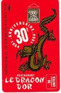 Polynese Francaise Telecarte Phonecard Prive PF24 Dragon Or Restaurant Chine Ut. TBE - Polynésie Française