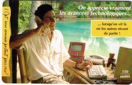 Polynese Francaise Telecarte Phonecard Publique PF49 Homme Avancee Technologique Telephone Ordinateur Computer Ut. BE - Polynésie Française