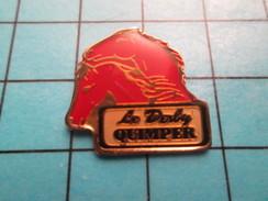 Pin2317 Pin´s Pins : BEAU ET RARE : ANIMAUX / CHEVAL ROUGE BRETAGNE BAR PMU LE DERBY QUIMPEr - Animali