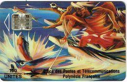 Polynese Francaise Telecarte Phonecard Publique PF14B SC7 Peche Cailloux Poisson Volant Peinture Kienlen 1993 BE - Polynésie Française