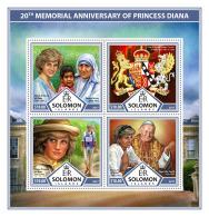 SOLOMON ISLANDS 2017 ** Mother Teresa Mutter Teresa Mere Teresa Princess Diana M/S - OFFICIAL ISSUE - DH1736 - Mother Teresa