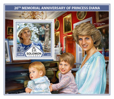 SOLOMON ISLANDS 2017 ** Princess Diana & Family S/S - IMPERFORATED - DH1736 - Briefmarken