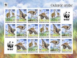 CHAD 2017 ** WWF Outarde Arabe Birds Vögel Oiseaux M/S III - IMPERFORATED - DH1736 - Oiseaux
