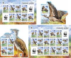 CHAD 2017 ** WWF Outarde Arabe Birds Vögel Oiseaux S/S+M/S I-III - IMPERFORATED - DH1736 - Oiseaux