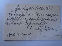 D153063  Autograph On Visit Card  -Dr. Berényi Ármin - GYULA  Békés - 1902 - Autographes