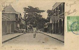 MADAGASCAR  Tamatave ,Rue Du Commerce + Beau Timbre 5 Recto Verso Cachet Bleu Tamatave - Madagascar